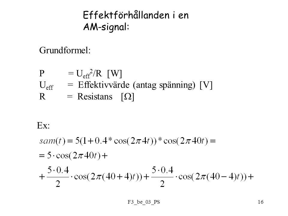 F3_be_03_PS16 Effektförhållanden i en AM-signal: Grundformel: P = U eff 2 /R [W] U eff = Effektivvärde (antag spänning) [V] R = Resistans [  ] Ex: