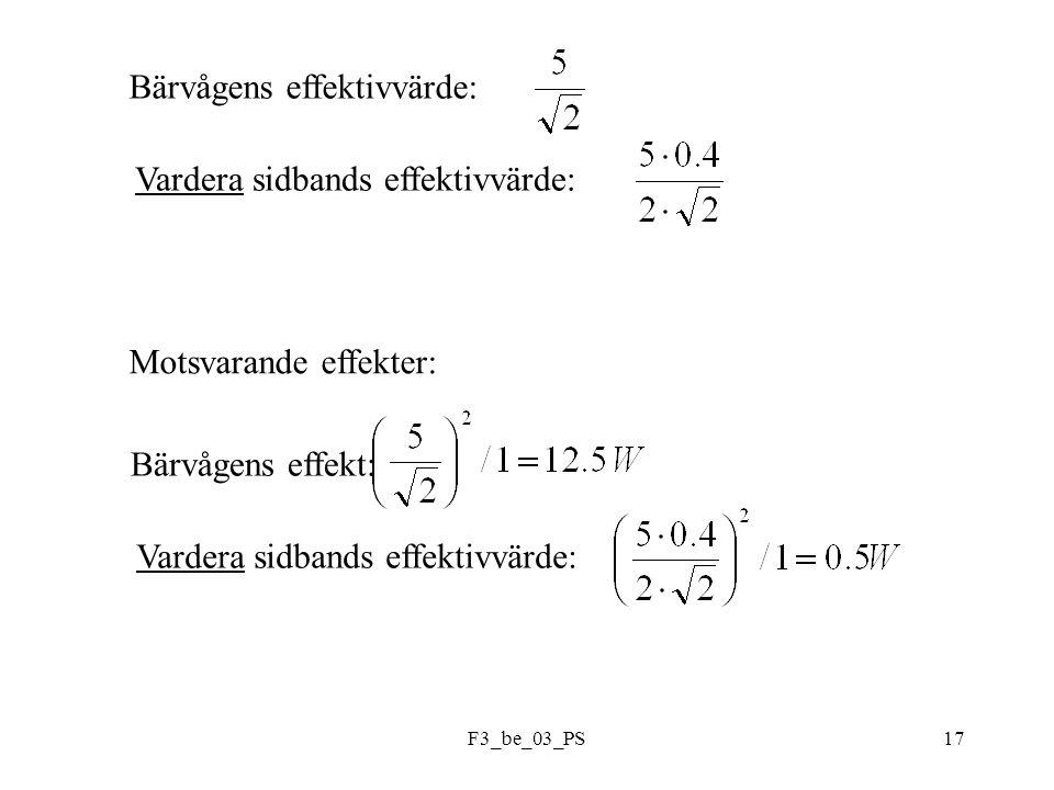 F3_be_03_PS17 Bärvågens effektivvärde: Vardera sidbands effektivvärde: Motsvarande effekter: Bärvågens effekt: Vardera sidbands effektivvärde: