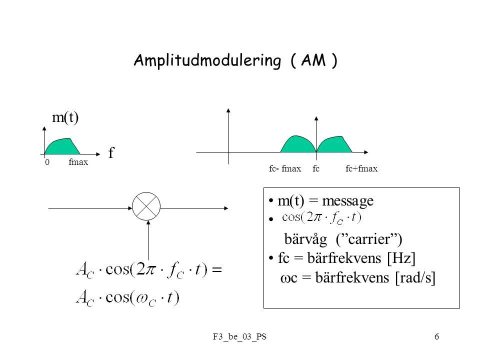 F3_be_03_PS6 Amplitudmodulering ( AM ) f m(t) 0 fmax fc- fmax fc fc+fmax m(t) = message bärvåg ( carrier ) fc = bärfrekvens [Hz]  c = bärfrekvens [rad/s]