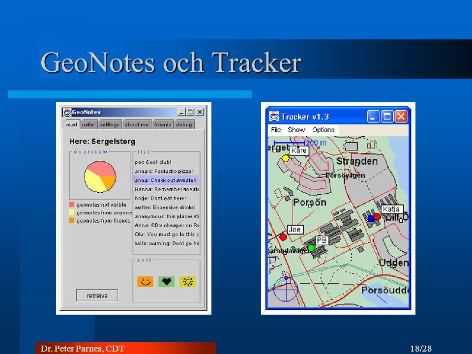 18/28 Dr. Peter Parnes, CDT GeoNotes och Tracker