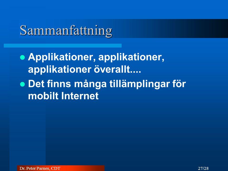 27/28 Dr. Peter Parnes, CDT Sammanfattning Applikationer, applikationer, applikationer överallt....