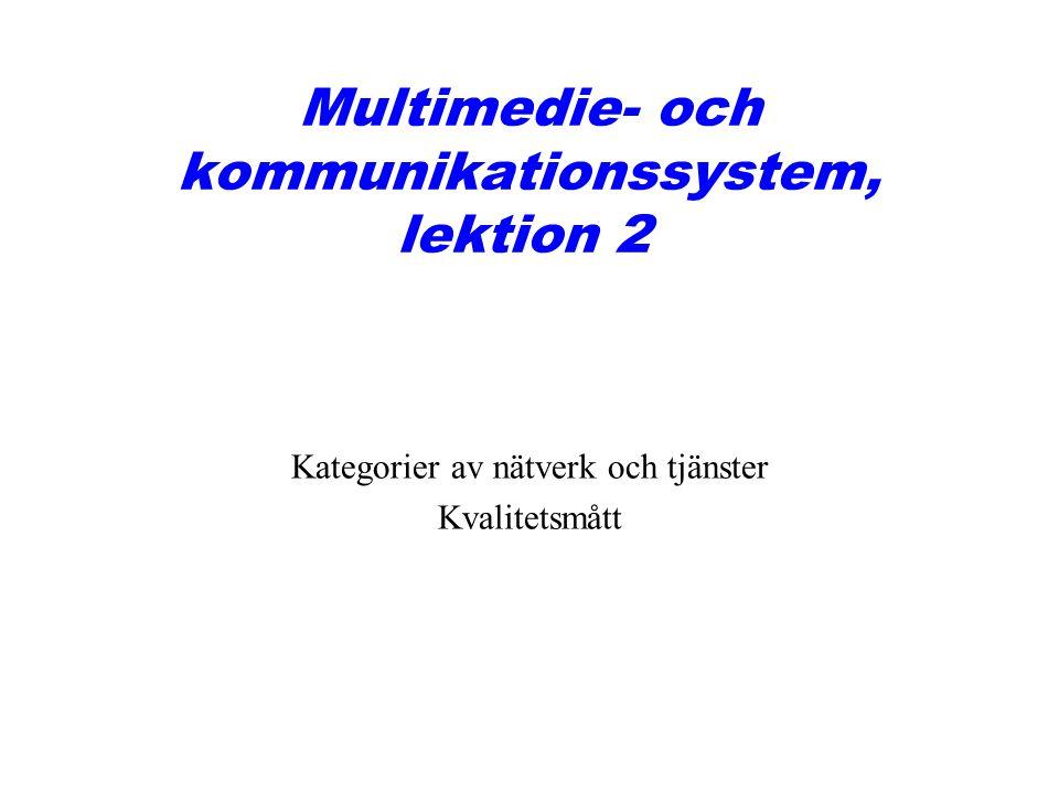 Multimedie- och kommunikationssystem, lektion 2 Kategorier av nätverk och tjänster Kvalitetsmått
