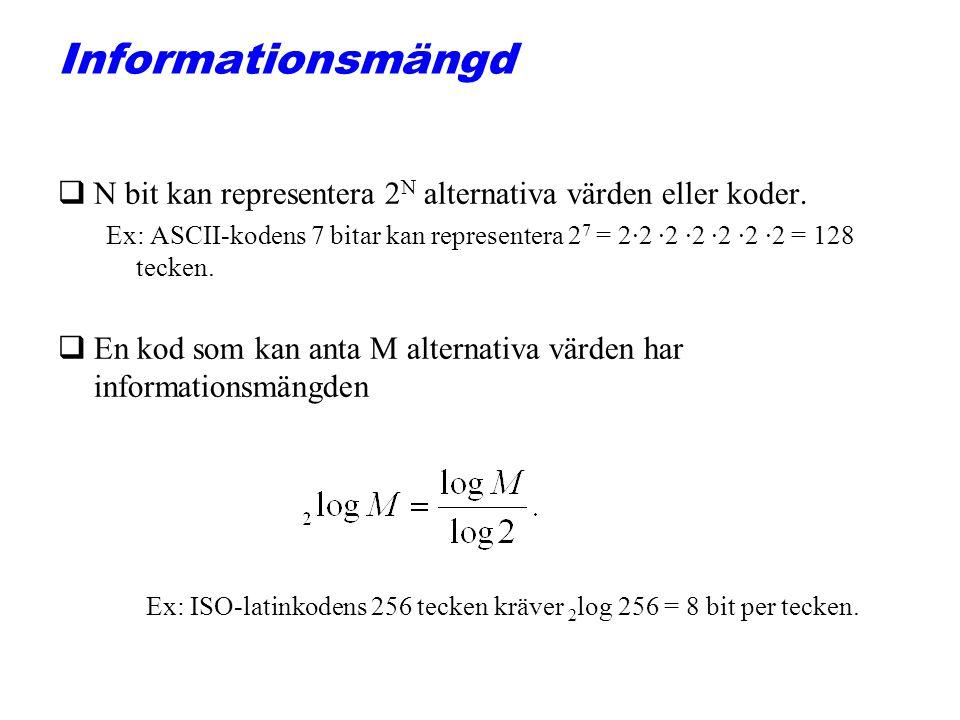 Informationsmängd qN bit kan representera 2 N alternativa värden eller koder. Ex: ASCII-kodens 7 bitar kan representera 2 7 = 2·2 ·2 ·2 ·2 ·2 ·2 = 128