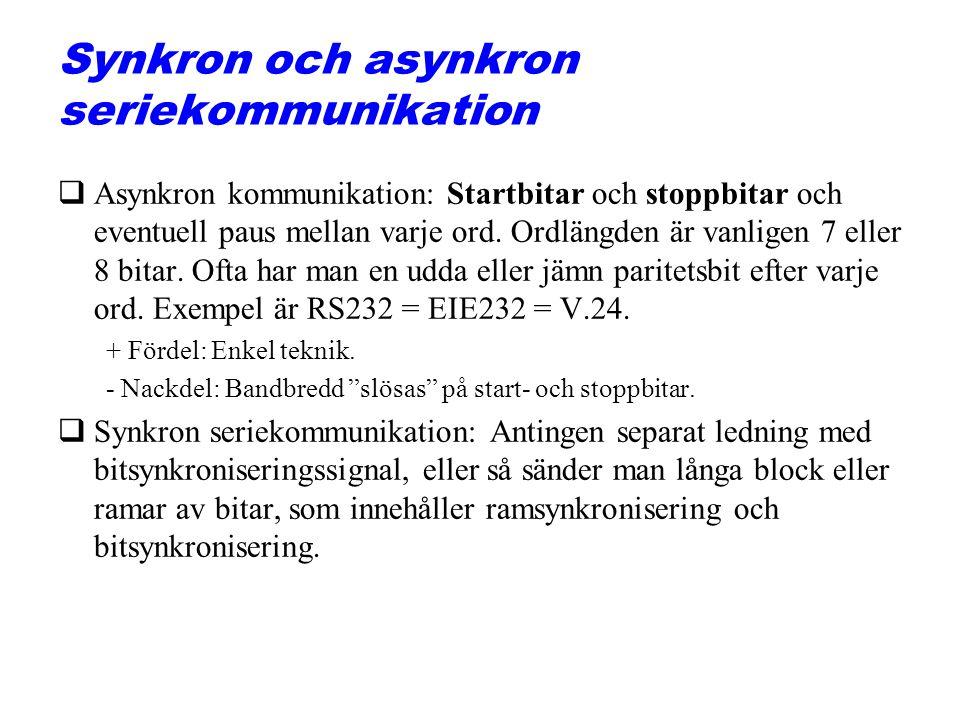 Synkron och asynkron seriekommunikation qAsynkron kommunikation: Startbitar och stoppbitar och eventuell paus mellan varje ord. Ordlängden är vanligen