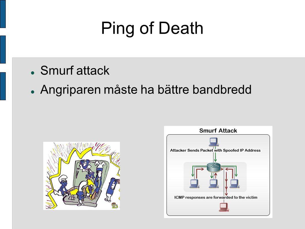 Ping of Death Smurf attack Angriparen måste ha bättre bandbredd