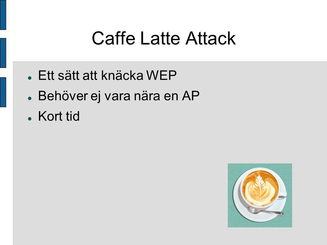 Caffe Latte Attack Ett sätt att knäcka WEP Behöver ej vara nära en AP Kort tid
