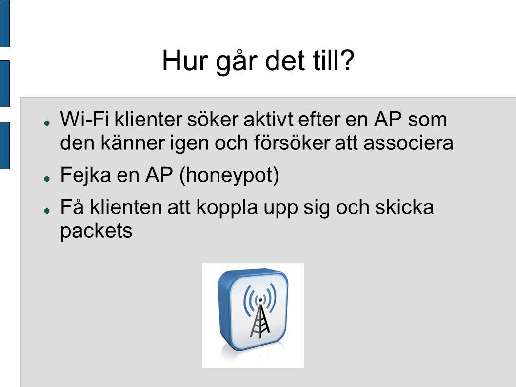 Fångar ARP packets Tvingar klienten att skicka fler ARP packets Använder speciella program för att analysera paketen och knäcka WEP krypteringen