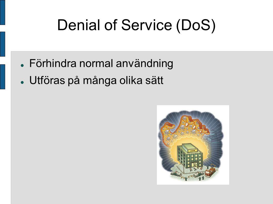 Denial of Service (DoS) Förhindra normal användning Utföras på många olika sätt