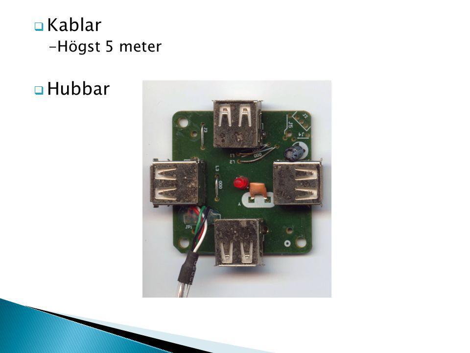  Kablar -Högst 5 meter  Hubbar