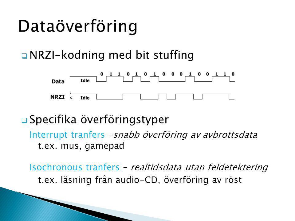 Dataöverföring  NRZI-kodning med bit stuffing  Specifika överföringstyper Interrupt tranfers –snabb överföring av avbrottsdata t.ex.