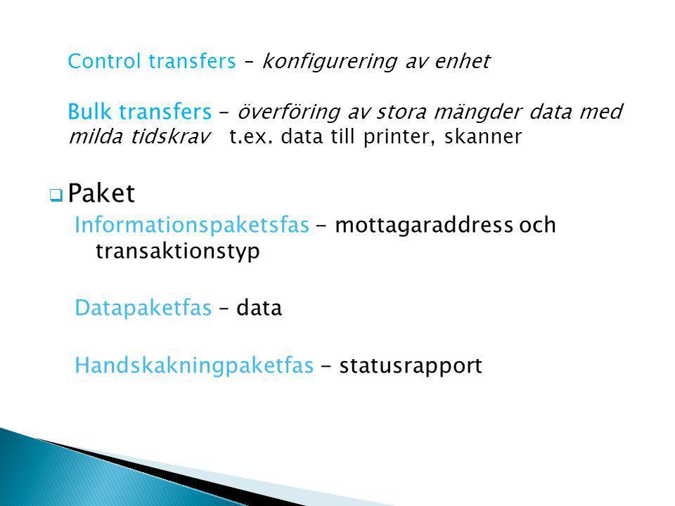 Control transfers – konfigurering av enhet Bulk transfers – överföring av stora mängder data med milda tidskrav t.ex.