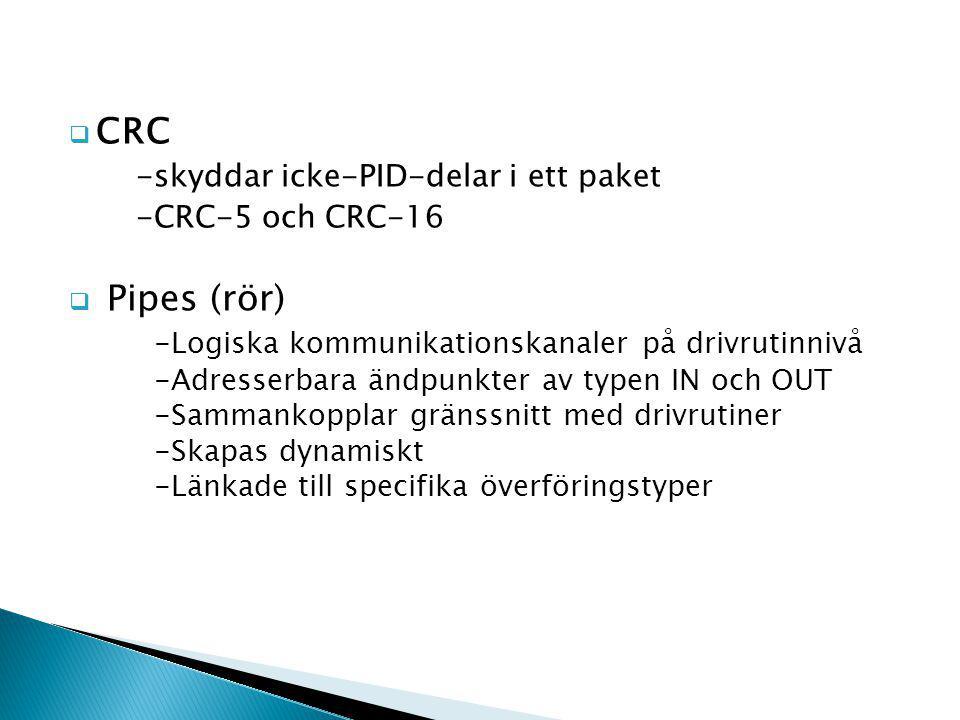  CRC -skyddar icke-PID-delar i ett paket -CRC-5 och CRC-16  Pipes (rör) -Logiska kommunikationskanaler på drivrutinnivå -Adresserbara ändpunkter av typen IN och OUT -Sammankopplar gränssnitt med drivrutiner -Skapas dynamiskt -Länkade till specifika överföringstyper