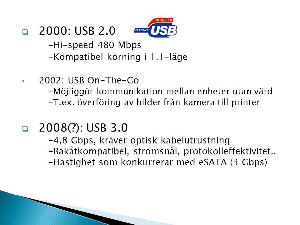  2000: USB 2.0 -Hi-speed 480 Mbps -Kompatibel körning i 1.1-läge  2002: USB On-The-Go -Möjliggör kommunikation mellan enheter utan värd -T.ex.