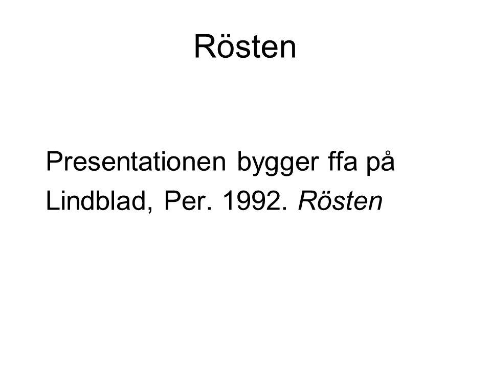 Rösten Presentationen bygger ffa på Lindblad, Per. 1992. Rösten
