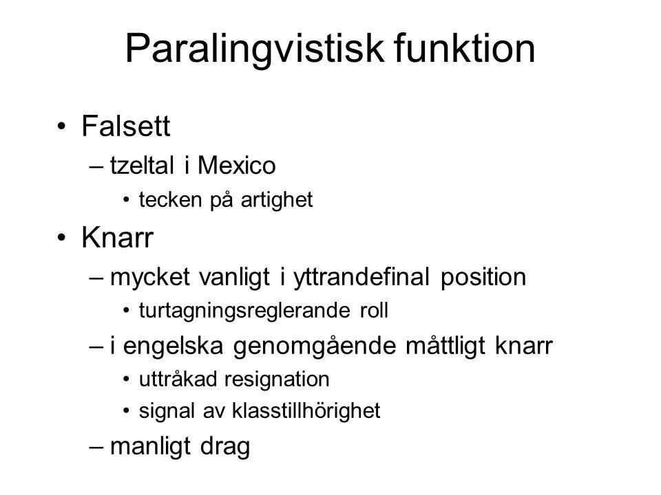 Lingvistisk funktion, ff Öppen nasalering –i alla världens språk –nasala konsonantfonem /m n/ –nasala vokalfonem i tex franska