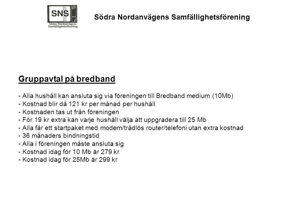 Gruppavtal på bredband - Alla hushåll kan ansluta sig via föreningen till Bredband medium (10Mb) - Kostnad blir då 121 kr per månad per hushåll - Kost