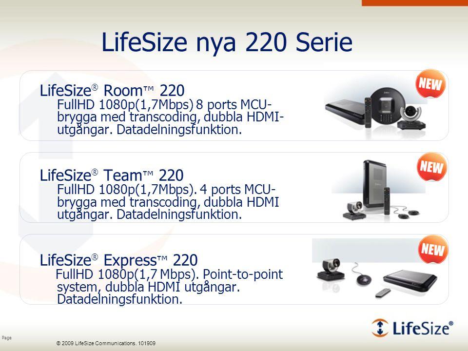 Page © 2009 LifeSize Communications. 101909 LifeSize nya 220 Serie LifeSize ® Room ™ 220 FullHD 1080p(1,7Mbps) 8 ports MCU- brygga med transcoding, du