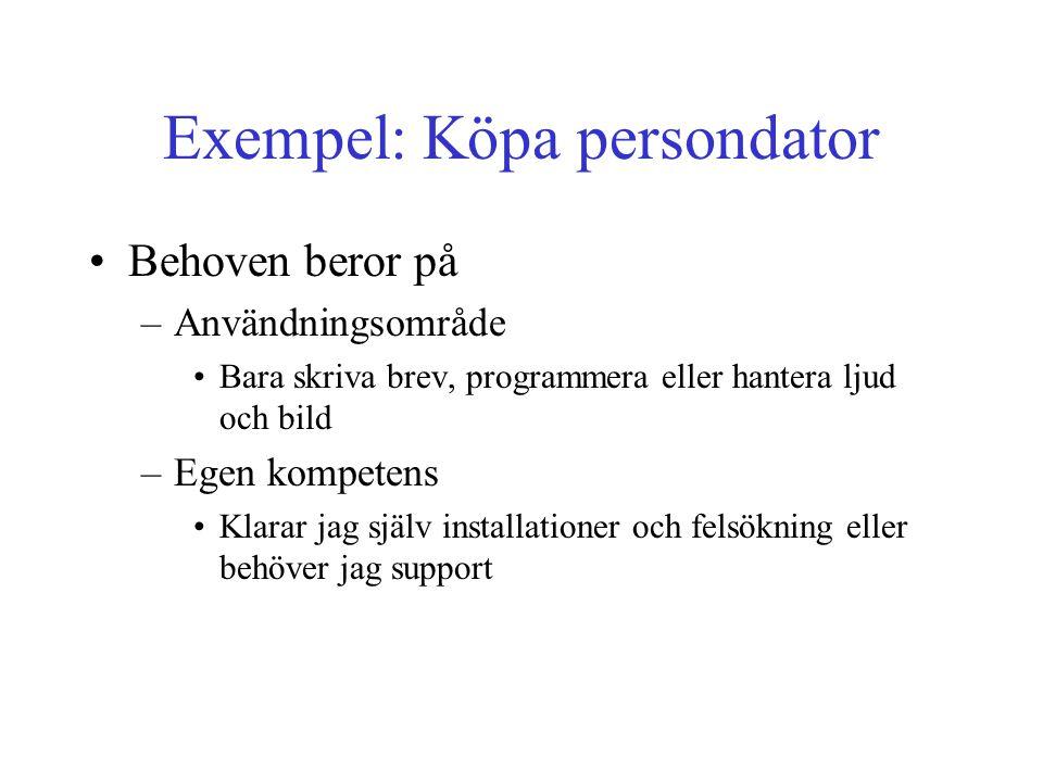Exempel: Köpa persondator Behoven beror på –Användningsområde Bara skriva brev, programmera eller hantera ljud och bild –Egen kompetens Klarar jag själv installationer och felsökning eller behöver jag support