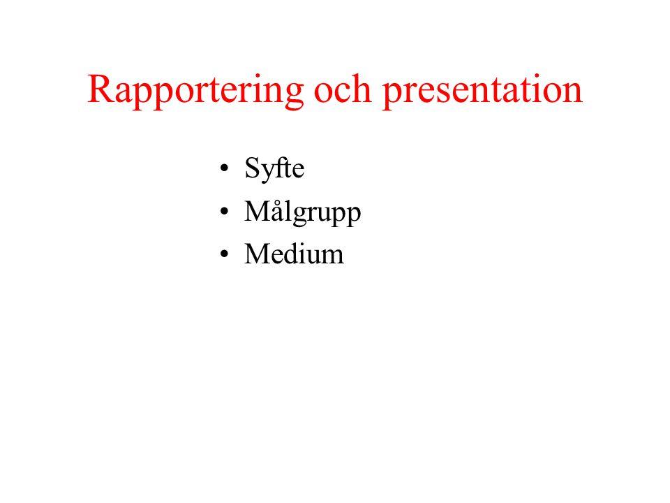 Rapportering och presentation Syfte Målgrupp Medium