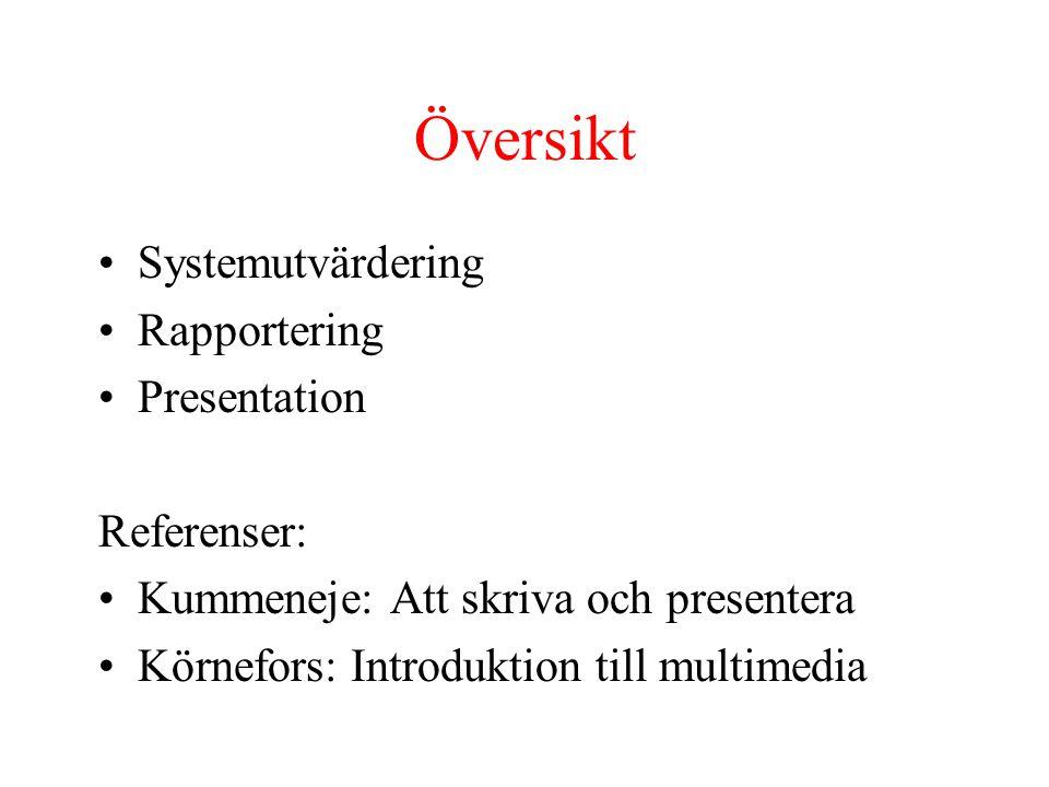 Översikt Systemutvärdering Rapportering Presentation Referenser: Kummeneje: Att skriva och presentera Körnefors: Introduktion till multimedia