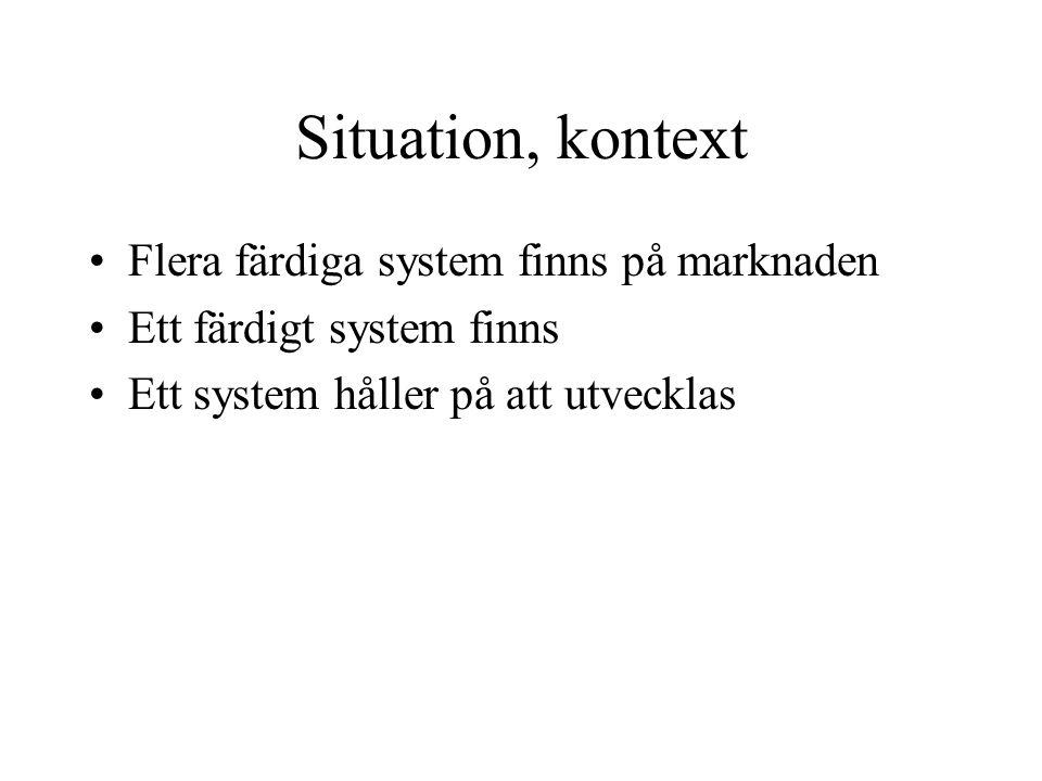 Situation, kontext Flera färdiga system finns på marknaden Ett färdigt system finns Ett system håller på att utvecklas