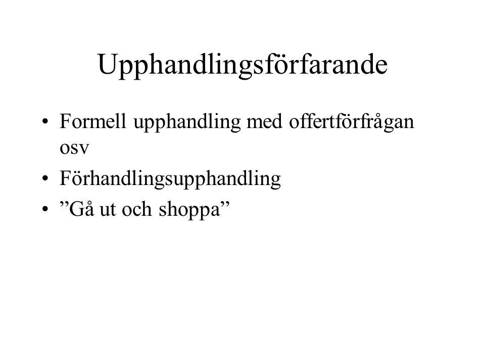 """Upphandlingsförfarande Formell upphandling med offertförfrågan osv Förhandlingsupphandling """"Gå ut och shoppa"""""""
