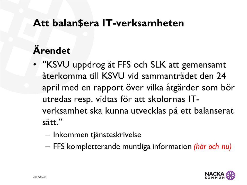Att balan$era IT-verksamheten Ärendet KSVU uppdrog åt FFS och SLK att gemensamt återkomma till KSVU vid sammanträdet den 24 april med en rapport över vilka åtgärder som bör utredas resp.
