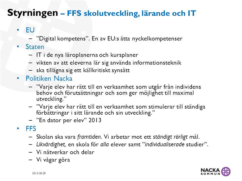 Forskningsnära utvecklingsarbete FFS Internt 1:1-försök 2008-2012 – Stockholms Universitet, prof.