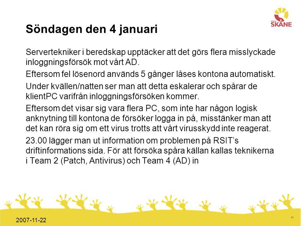Förvaltningsledning Mål och handlingsplan ITT 2008 11 2007-11-22 Söndagen den 4 januari Servertekniker i beredskap upptäcker att det görs flera missly