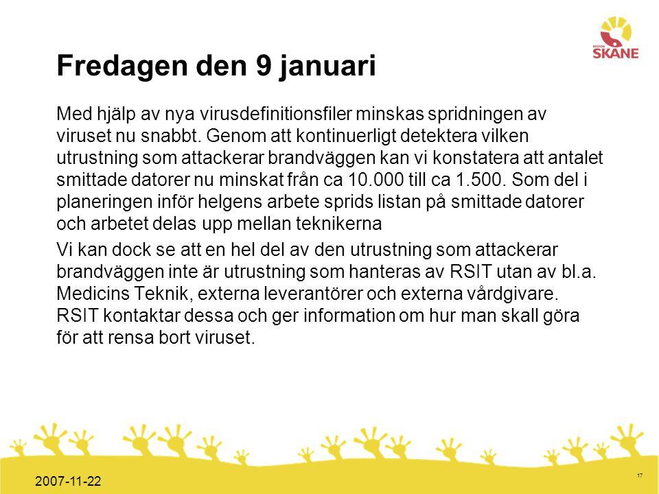 Förvaltningsledning Mål och handlingsplan ITT 2008 17 2007-11-22 Fredagen den 9 januari Med hjälp av nya virusdefinitionsfiler minskas spridningen av