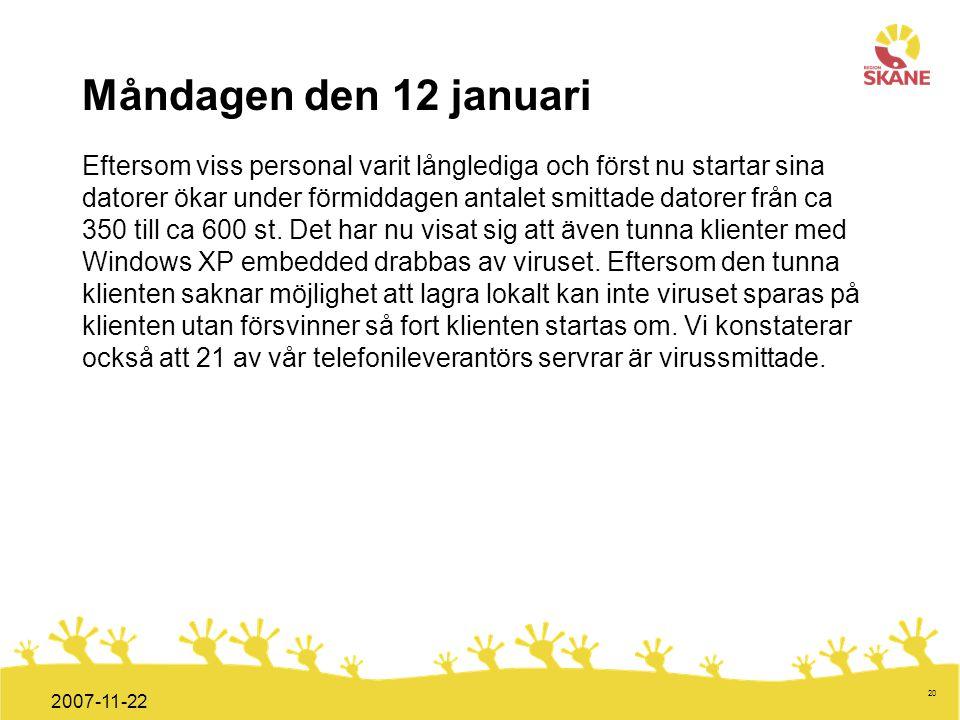 Förvaltningsledning Mål och handlingsplan ITT 2008 20 2007-11-22 Måndagen den 12 januari Eftersom viss personal varit långlediga och först nu startar
