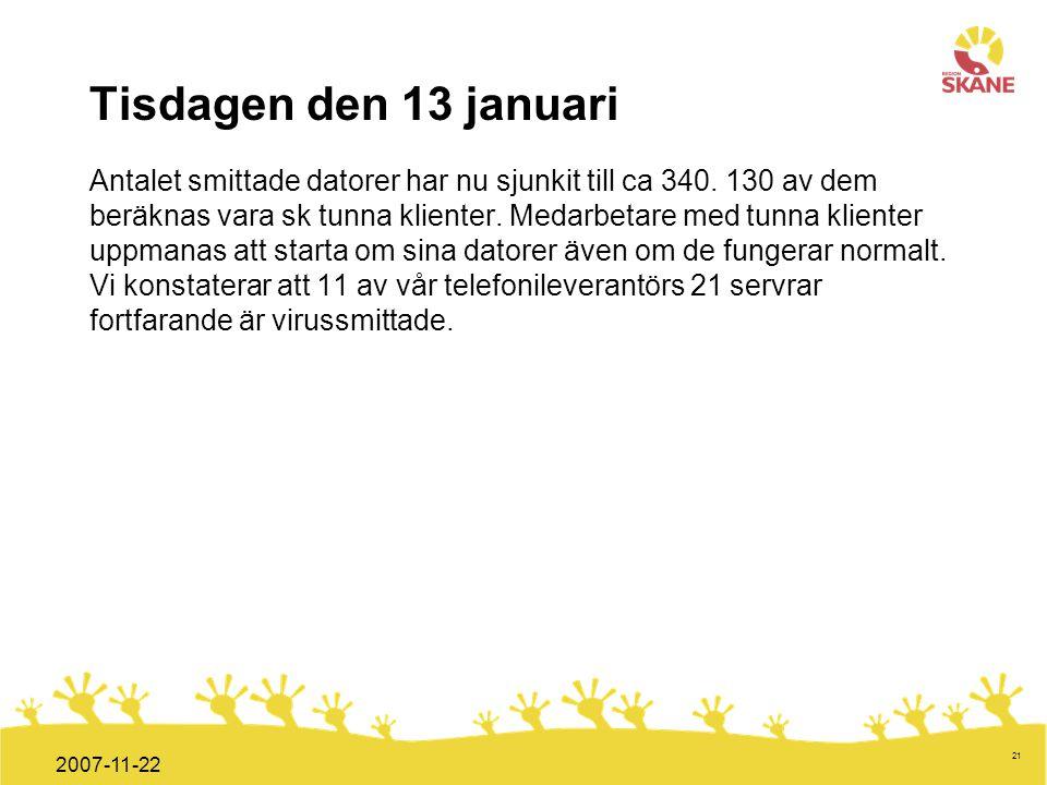 Förvaltningsledning Mål och handlingsplan ITT 2008 21 2007-11-22 Tisdagen den 13 januari Antalet smittade datorer har nu sjunkit till ca 340. 130 av d