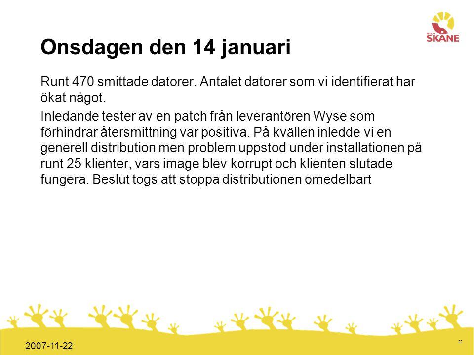 Förvaltningsledning Mål och handlingsplan ITT 2008 22 2007-11-22 Onsdagen den 14 januari Runt 470 smittade datorer. Antalet datorer som vi identifiera