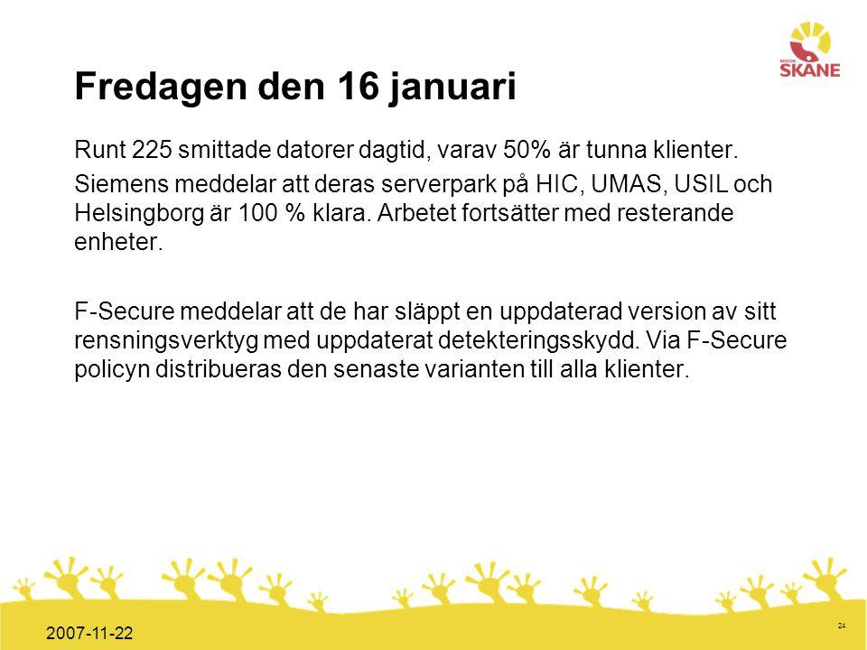 Förvaltningsledning Mål och handlingsplan ITT 2008 24 2007-11-22 Fredagen den 16 januari Runt 225 smittade datorer dagtid, varav 50% är tunna klienter
