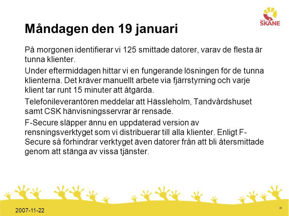 Förvaltningsledning Mål och handlingsplan ITT 2008 25 2007-11-22 Måndagen den 19 januari På morgonen identifierar vi 125 smittade datorer, varav de fl