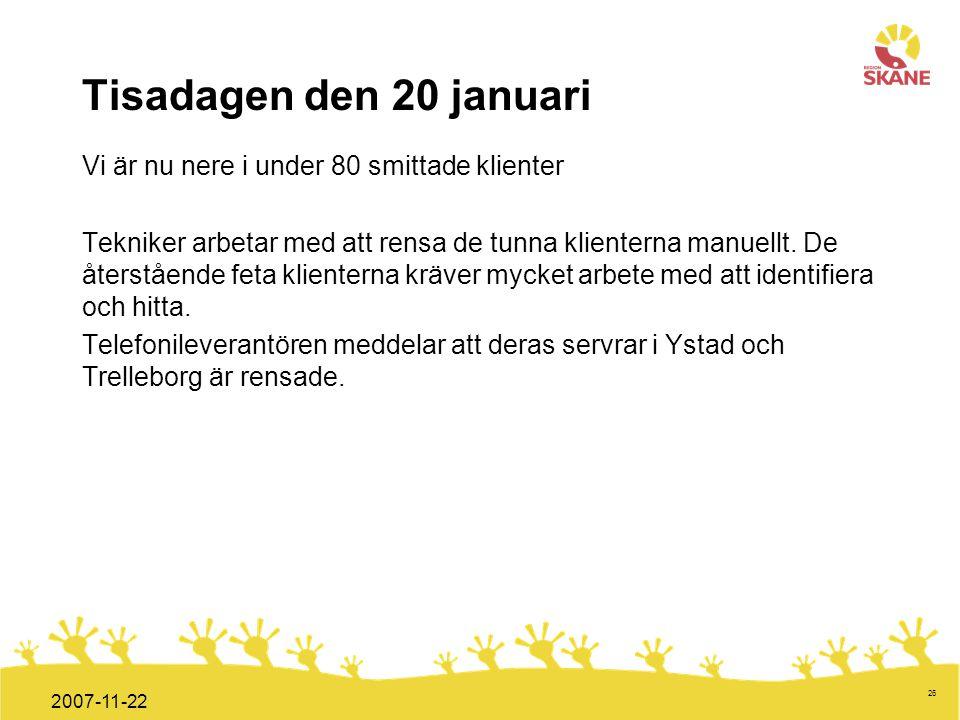 Förvaltningsledning Mål och handlingsplan ITT 2008 26 2007-11-22 Tisadagen den 20 januari Vi är nu nere i under 80 smittade klienter Tekniker arbetar