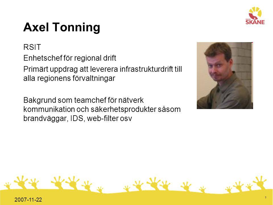 Förvaltningsledning Mål och handlingsplan ITT 2008 3 2007-11-22 Axel Tonning RSIT Enhetschef för regional drift Primärt uppdrag att leverera infrastru