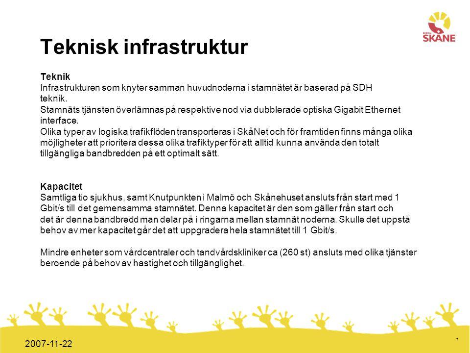 Förvaltningsledning Mål och handlingsplan ITT 2008 7 2007-11-22 Teknisk infrastruktur Teknik Infrastrukturen som knyter samman huvudnoderna i stamnäte