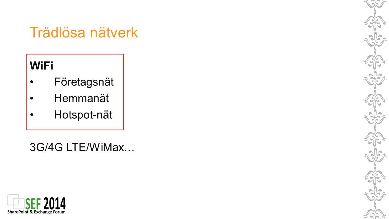 Trådlösa nätverk WiFi Företagsnät Hemmanät Hotspot-nät 3G/4G LTE/WiMax…