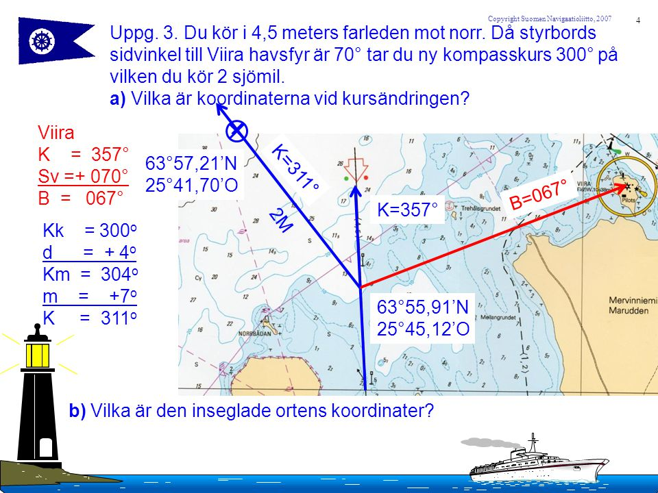 5 Copyright Suomen Navigaatioliitto, 2007 Uppgift.
