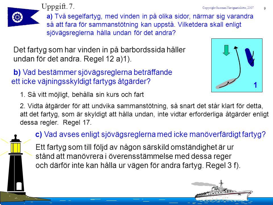 10 Copyright Suomen Navigaatioliitto, 2007 Uppgift.