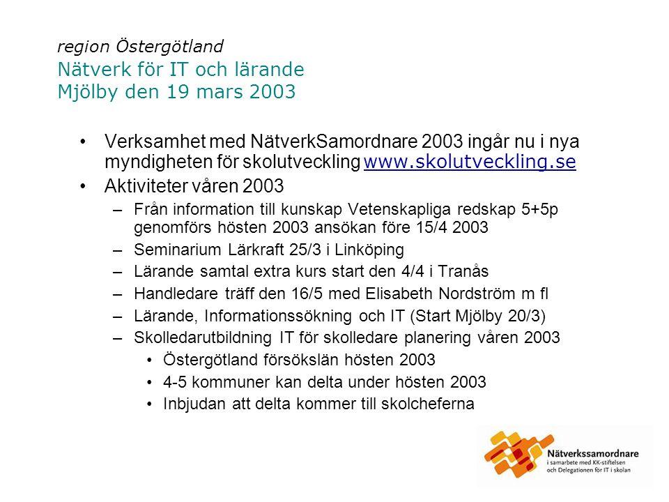 region Östergötland Nätverk för IT och lärande Mjölby den 19 mars 2003 Verksamhet med NätverkSamordnare 2003 ingår nu i nya myndigheten för skolutveckling w ww.skolutveckling.sew ww.skolutveckling.se Aktiviteter våren 2003 –Från information till kunskap Vetenskapliga redskap 5+5p genomförs hösten 2003 ansökan före 15/4 2003 –Seminarium Lärkraft 25/3 i Linköping –Lärande samtal extra kurs start den 4/4 i Tranås –Handledare träff den 16/5 med Elisabeth Nordström m fl –Lärande, Informationssökning och IT (Start Mjölby 20/3) –Skolledarutbildning IT för skolledare planering våren 2003 Östergötland försökslän hösten 2003 4-5 kommuner kan delta under hösten 2003 Inbjudan att delta kommer till skolcheferna