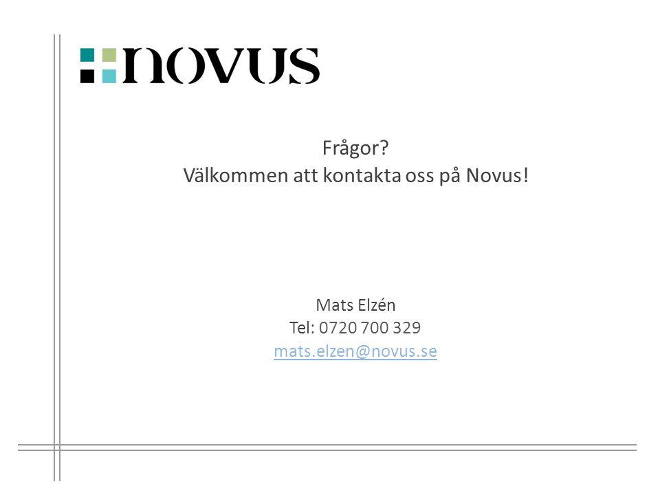 10 Mats Elzén Tel: 0720 700 329 mats.elzen@novus.se Frågor? Välkommen att kontakta oss på Novus!