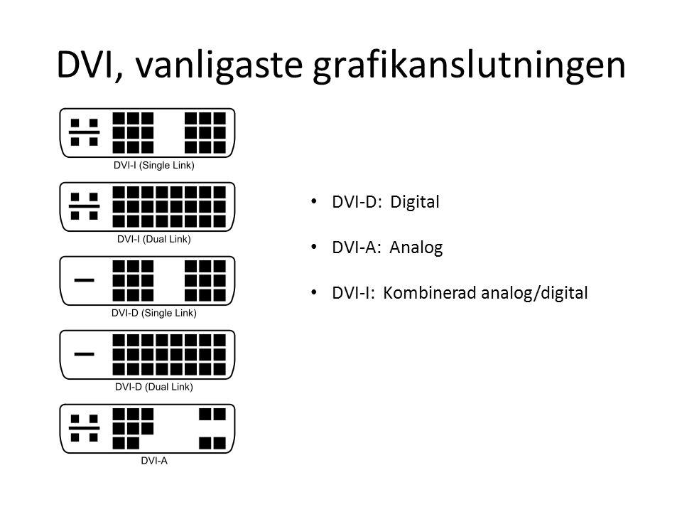 DVI, vanligaste grafikanslutningen DVI-D: Digital DVI-A: Analog DVI-I: Kombinerad analog/digital