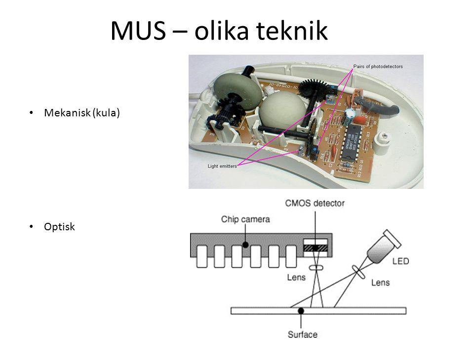 MUS – olika teknik Mekanisk (kula) Optisk