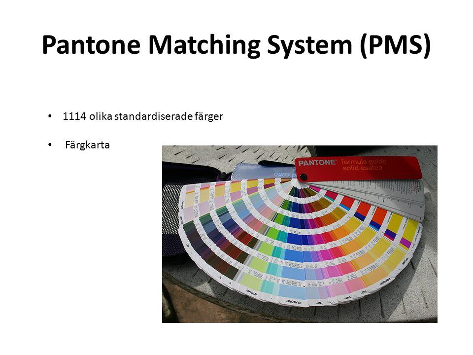 Pantone Matching System (PMS) 1114 olika standardiserade färger Färgkarta