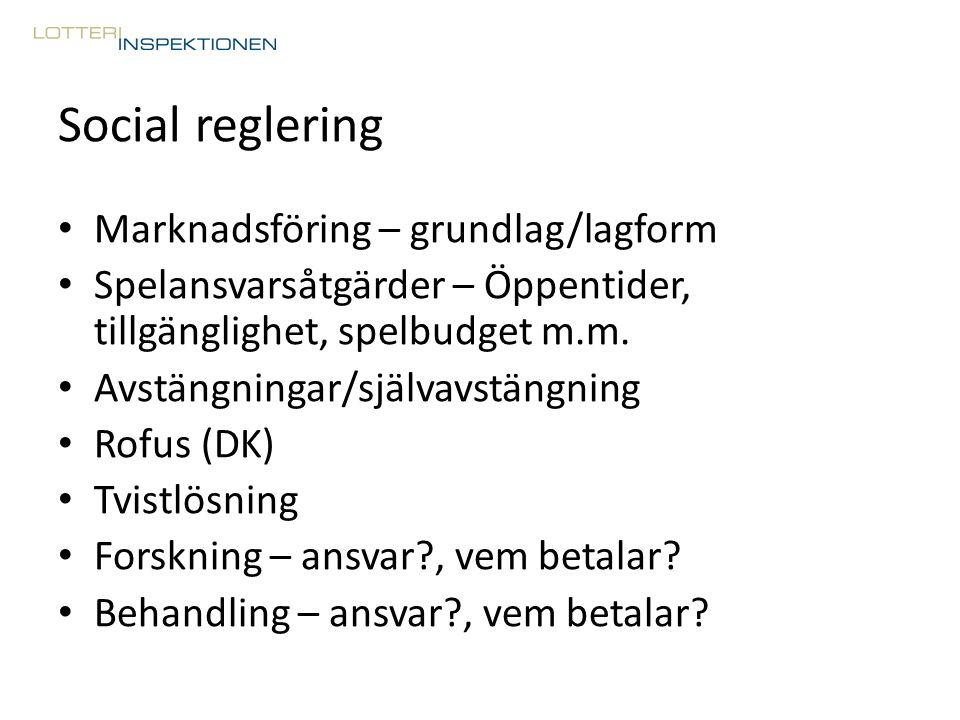 Social reglering Marknadsföring – grundlag/lagform Spelansvarsåtgärder – Öppentider, tillgänglighet, spelbudget m.m. Avstängningar/självavstängning Ro