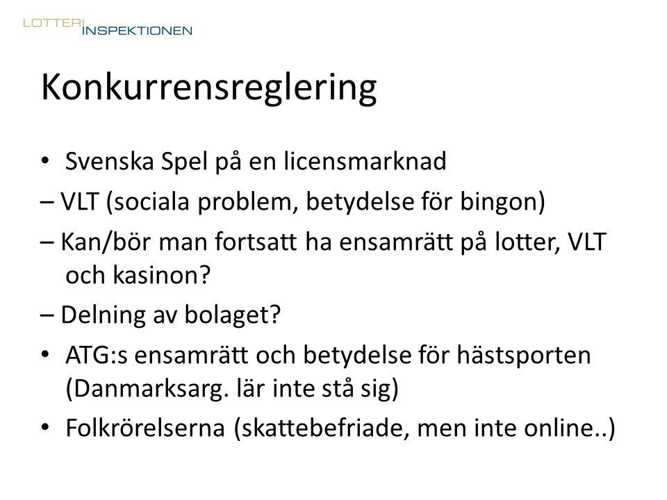 Konkurrensreglering Svenska Spel på en licensmarknad – VLT (sociala problem, betydelse för bingon) – Kan/bör man fortsatt ha ensamrätt på lotter, VLT