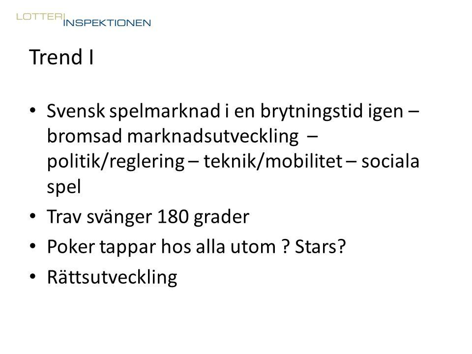Trend I Svensk spelmarknad i en brytningstid igen – bromsad marknadsutveckling – politik/reglering – teknik/mobilitet – sociala spel Trav svänger 180