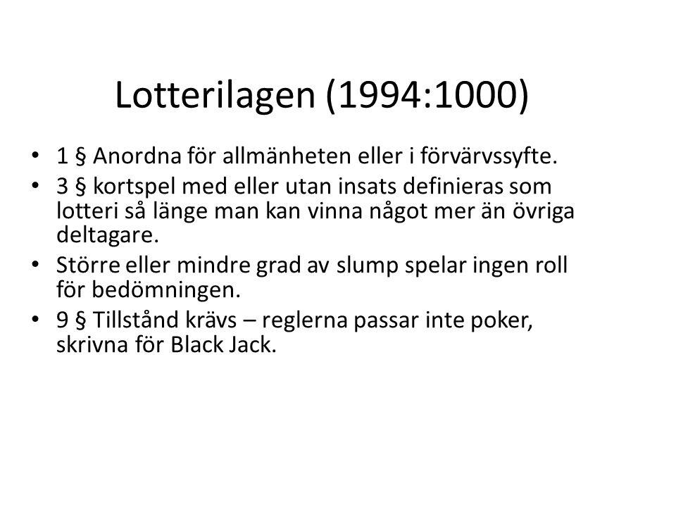 Lotterilagen (1994:1000) 1 § Anordna för allmänheten eller i förvärvssyfte. 3 § kortspel med eller utan insats definieras som lotteri så länge man kan
